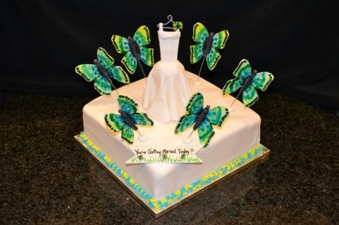 Beautiful Butterfly Bridal Shower Cake